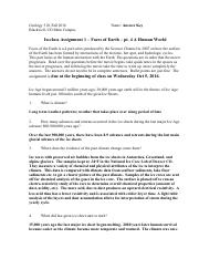 answer key in-class Assignment 1 - Faces of Earth - A Human World-Video 16f