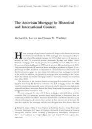 Green_Wachter_The American mortgage in historical and international context_JEP 2005