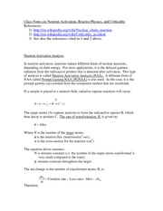 Class Notes on Neutron Activation Reactor Physics and criticality