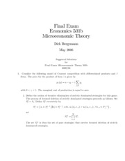 Suggested microeconomic essays