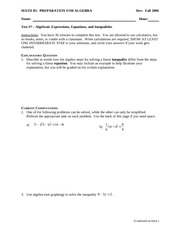 Test 7 on Linear Expressions, Equations, and Inequalities