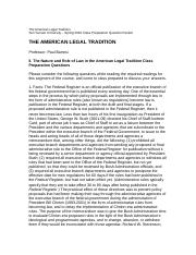 The American Legal Tradition prep questions.docx
