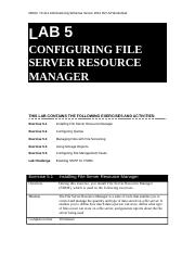 Lab Worksheet Lesson 05 Configuring File Server Resource Manager