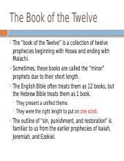 Lecture 17 - The Book of the Twelve