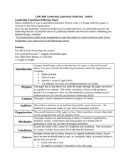 leadership experience paper rubric