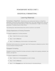 POWERPOINT NOTES UNIT 3