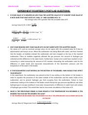 Lab 14 (Determining The Value Of The Gas Constant, R) (Post-Lab Questions) - Copy