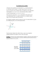 12.1 Functions of Several Variables