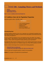 2.2 Confidence Intervals for Population Proportion   STAT 506 - Sampling Theory and Methods