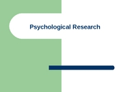 Intro to Psychology - Research Methods