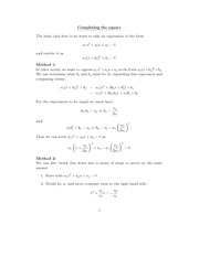 Math 371 Complete Square Review Notes