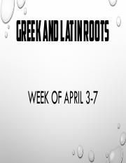 G & L Roots Week of April 3-7