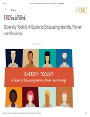 Diversity Toolkit- A Guide to Discussin..., Power and Privilege - Blog | MSW@USC