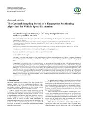 The Optimal Sampling Period of a Fingerprint Positioning Algorithm for Vehicle Speed Estimation