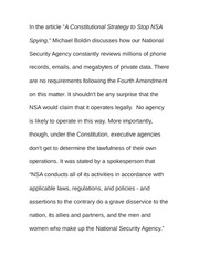 Essay on A Constitutional Strategy to stop NSA Spying