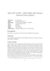Syllabus on Advanced Linear Algebra