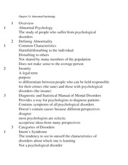 Chapter 12- Abnormal Psychology