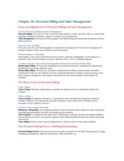 Chapter 18: personal selling and sales management