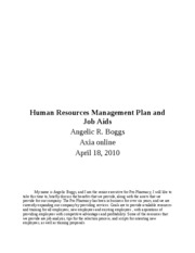 HRM 240 w 9 d d 7 Human Resources Management Plan and Job Aids
