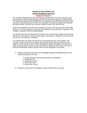clark paints inc capital budgeting decision Acct505 part b capital budgeting problem – johnnie & sons paints inc capital budgeting decisionthese instructions can also be downloaded from doc sharinghere is part b:clark paints: the production department has been investigating possible ways to trim totalproduction costs.