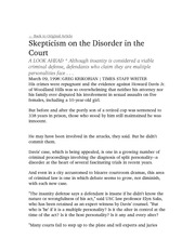 Skepticism on the Disorder in the Court