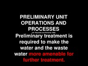 Preliminary Unit Operations for students
