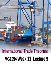 MG1054 Lecture 9 Wk 11 International Trade Theory 2016-17