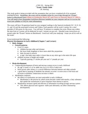 CDE 232 Exam 2 Study Guide-Spring 2011
