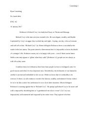 Essay Writings In English  Pages Richard Cory An Analytical Essay On Theme And Message What Is A Thesis Of An Essay also College English Essay Topics Richard Cory Presentation Outline  Richard Cory Presentation  Computer Science Essay Topics