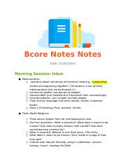 BCore notes