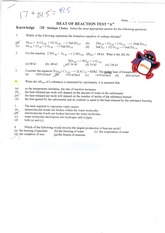 SCH4U Heat of Reaction Test Solutions