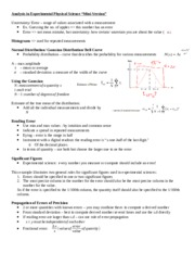 Notes Error Analysis In Experimental Phyiscal Science (Class 2)