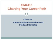 How to Find an Internship PowerPoint - SM411