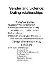 Gender Violence Dating Relationships Notes BBH 315