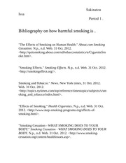 Bibliography on how harmful smoking is