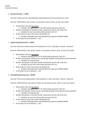 Financial Formulas Handout