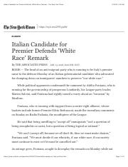 Italian Candidate for Premier Defends 'White Race' Remark - The New York Times.pdf