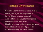 Lecture Notes 4 Portfolio Diversification