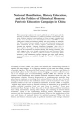 National Humiliation, History Education, and the Politics of Historical Memory- Patriotic Education