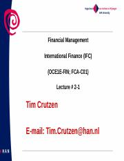 Lecture 2-1  International Finance OCE