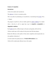 Features of Competition