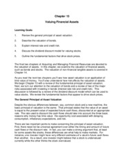 Valuing Financial Assets