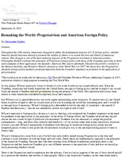 Progressivism and American Foreign Policy