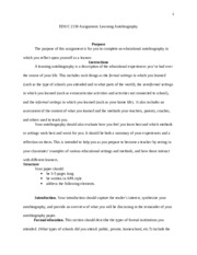 2130 Learning Autobiography Instructions and Rubric (4)
