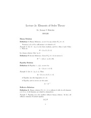 Lecture on Elements of Order Theory