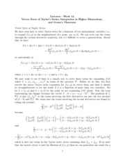 Study Guide of the Vector Form of Taylor's Series, Integration in Higher Dimensions