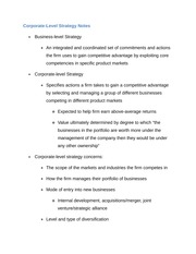 Corporate Level strategy Notes