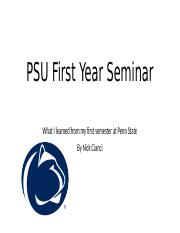 PSU First Year Seminar presentation.pptx