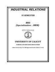 BBA (Specialization - HRM) - VI Sem-Industrial Relations.pdf