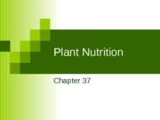 Ch. 37 Plant Nutrition
